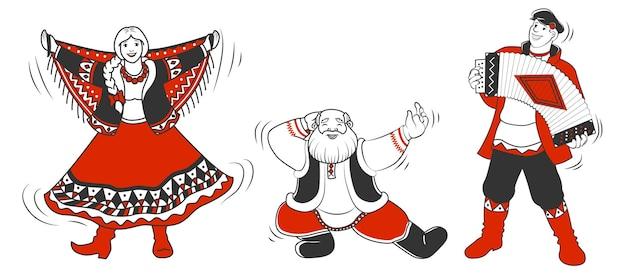 Shrovetide o maslenitsa. celebrazioni veloci, gente che balla felice nei costumi tradizionali russi.