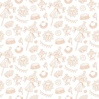 Shrovetide seamless pattern. elementi della settimana di maslenitsa: blins, sole, spaventapasseri dell'inverno, fisarmonica.