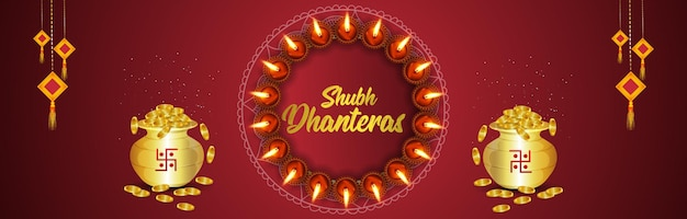 Shubh dhanteras festival indiano banner o intestazione con vaso di monete d'oro