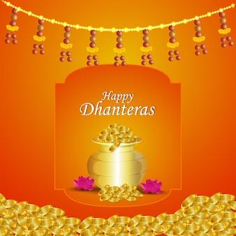 Biglietto di auguri per la celebrazione del festival indiano shubh dhanteras
