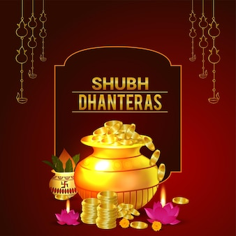 Biglietto di auguri festival indiano shubh dhanteras con moneta d'oro kalash