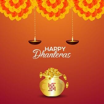Shubh dhanteras invito biglietto di auguri con vaso di monete d'oro vettoriale e ghirlanda di fiori