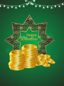 Shubh dhanteras sfondo realistico celebrazione con moneta d'oro su sfondo modello pattern