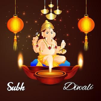 Shubh diwali sfondo con creativo lampada a olio diwali ad lord ganesha