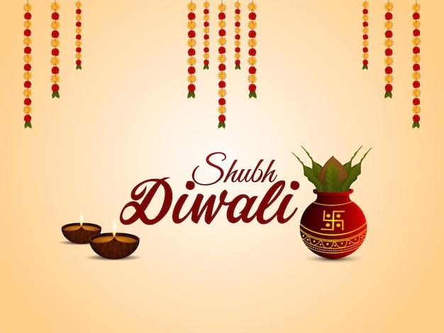 Illustrazione di shubh diwali con kalash creativo e diwali diya