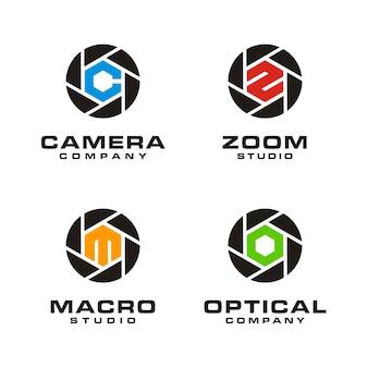 Set di progettazione del logo dell'obiettivo della fotocamera con apertura dell'otturatore