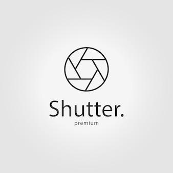 Otturatore fotocamera logo linea arte icona illustrazione vettoriale design