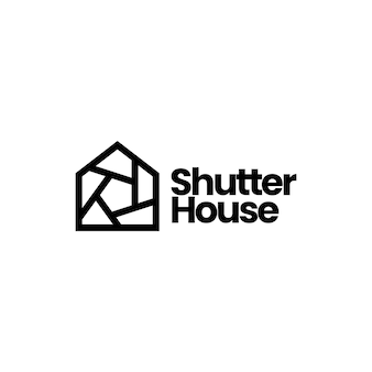 Illustrazione dell'icona di vettore del logo dell'obiettivo della fotocamera della foto della casa della casa dell'otturatore