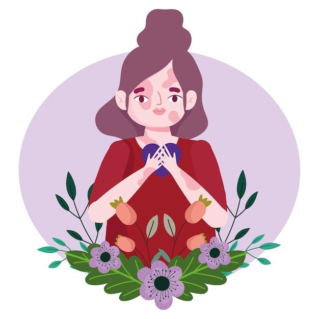 Ragazza timida con vitiligine e cuore personaggio dei cartoni animati di amore di sé illustrazione
