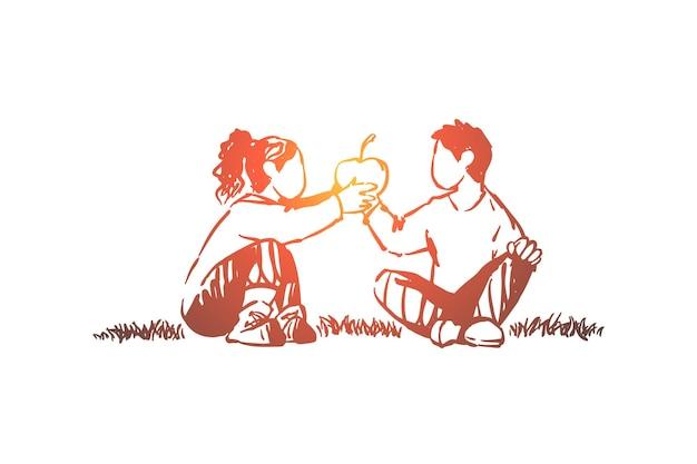 Relazione di fratelli, bambini che condividono deliziosi frutti insieme illustrazione
