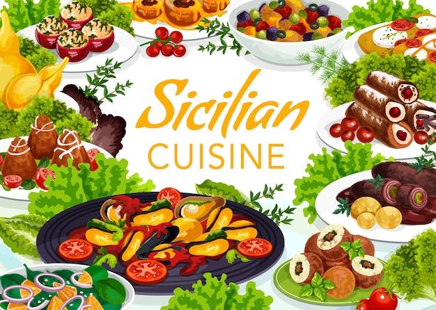 Disegno dell'illustrazione della cucina siciliana