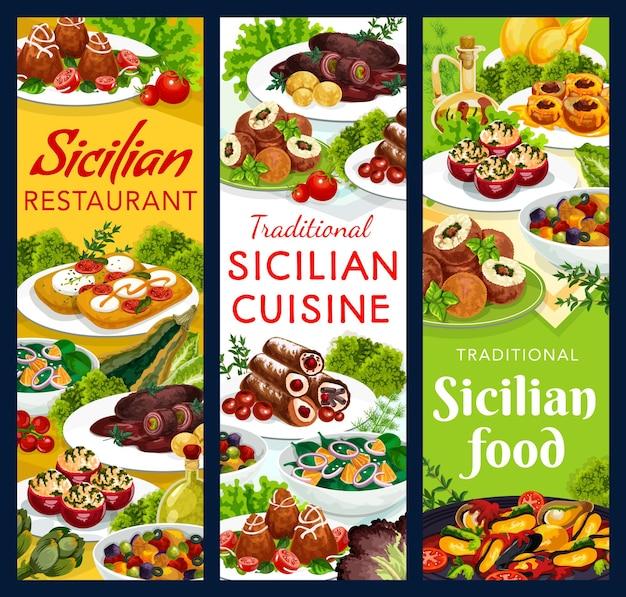 Disegno dell'illustrazione del cibo siciliano