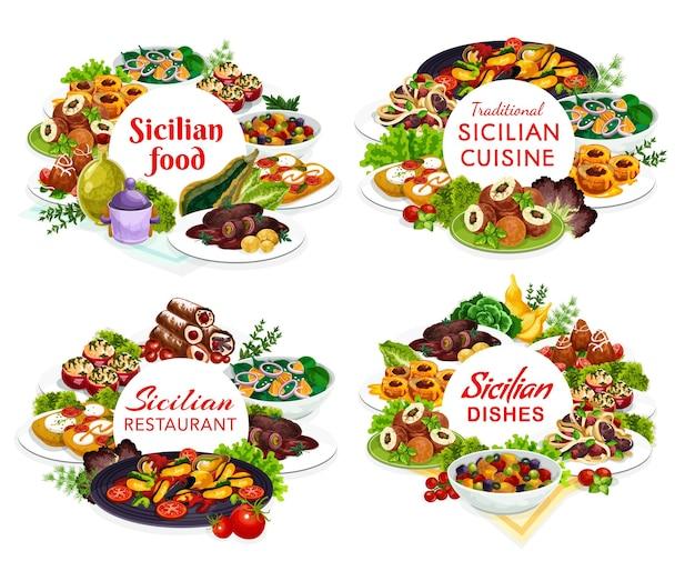 Disegno dell'illustrazione dei pasti siciliani