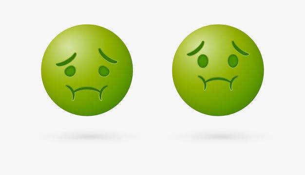 Emoji malata o emoticon nauseata deve vomitare con la faccia verde