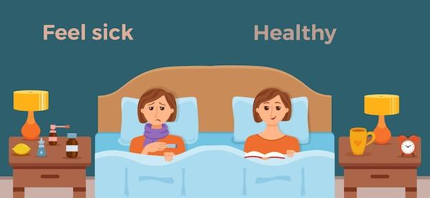 Ragazza malata a letto i sintomi di raffreddore, influenza e sentirsi bene maschio sano con il libro