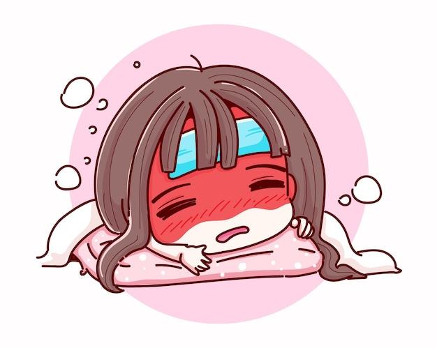 Mal di testa da ragazza malata e design del personaggio del coronavirus