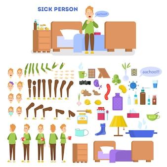 Set di caratteri maschili malati per l'animazione con varie visualizzazioni