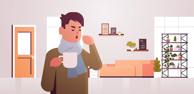 Uomo malato che ha starnuti che beve l'illustrazione calda del tè