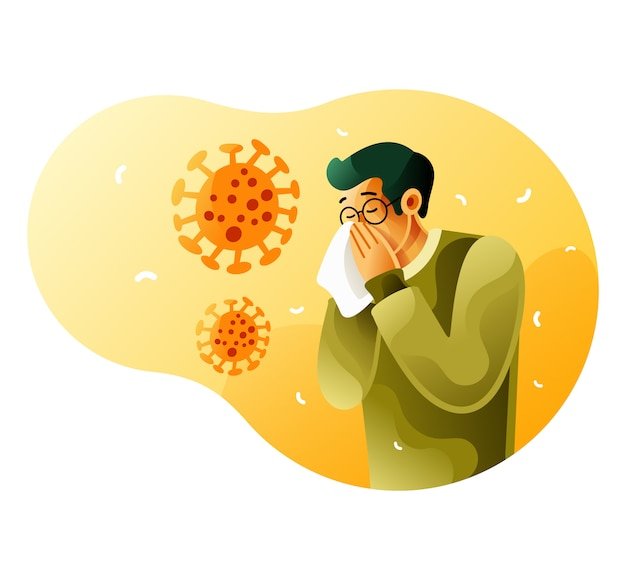 L'uomo malato starnutisce a causa del coronavirus