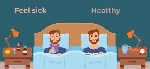 Gli uomini malati a letto i sintomi del raffreddore, dell'influenza e si sentono bene maschio sano con il libro Vettore Premium