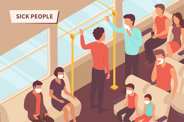 Persone malate sull'illustrazione di trasporto