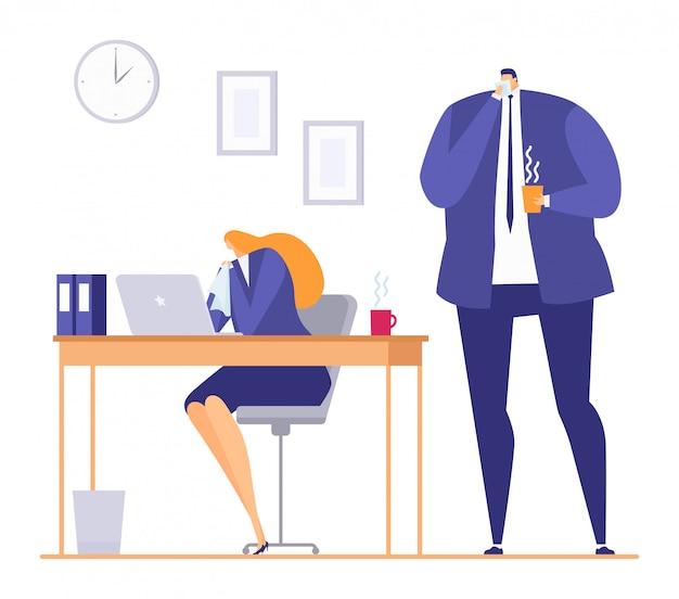 Persona malata in ufficio durante il raffreddore influenzale stagionale, illustrazione. donna malata al lavoro, malattia febbrile sul posto di lavoro dei cartoni animati.