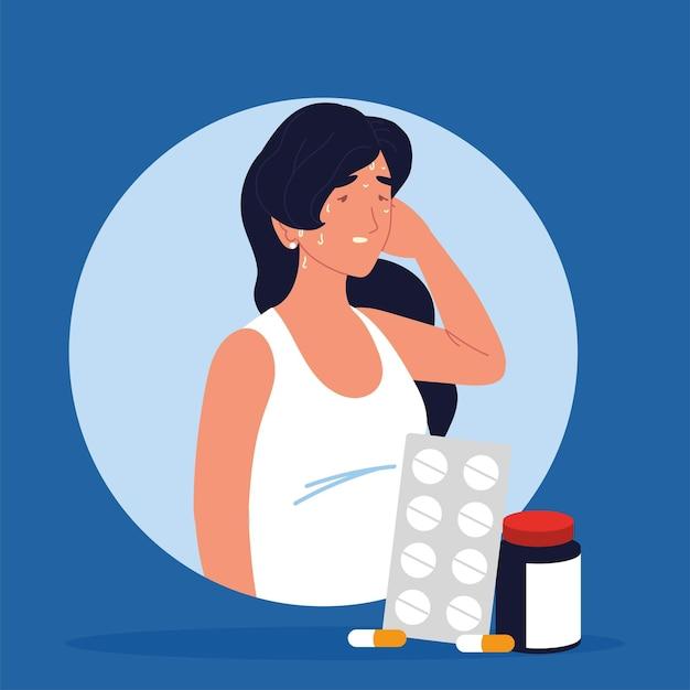 Capsule della bottiglia della medicina della donna ammalata