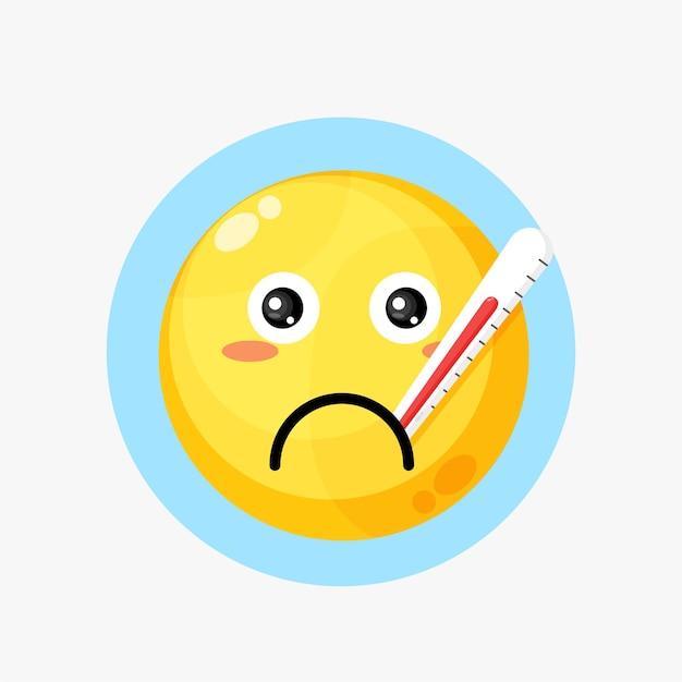 Icona emoticon gialla malata