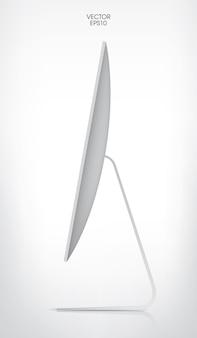 Lato del display del computer su sfondo bianco