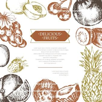 Cornice di frutta laterale - illustrazione di design moderno disegnato a mano di vettore con copyspace per il tuo logo. uva, ciliegie, ananas, fragola, noci di cocco, mela.
