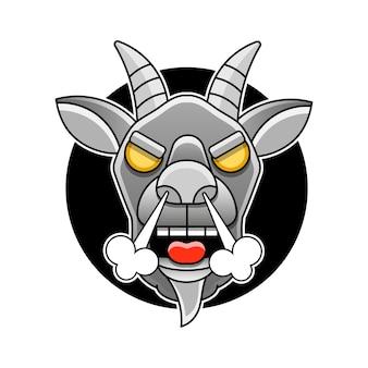 Modello di logo della testa di capra vista laterale per carne e latticini, fumetto illustrazione vettoriale su sfondo bianco.