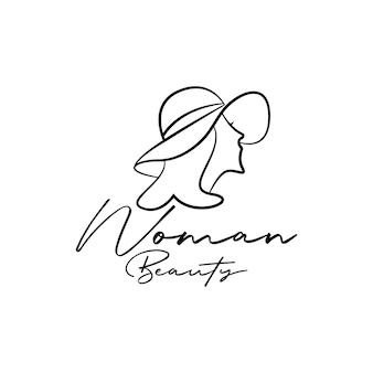 Vista laterale della testa di donna in cappello estivo. vettore di design del logo femminile di bellezza con line art