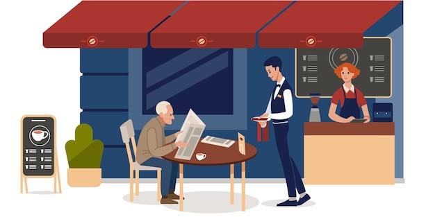 Sidewalk cafe. uomo maggiore che legge il giornale nella caffetteria all'aperto.