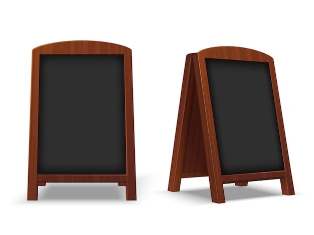 Lavagna sul marciapiede. lavagna ristorante all'aperto con cornice in legno. modello isolato vettore mandante un sms del cavalletto 3d vuoto del caffè