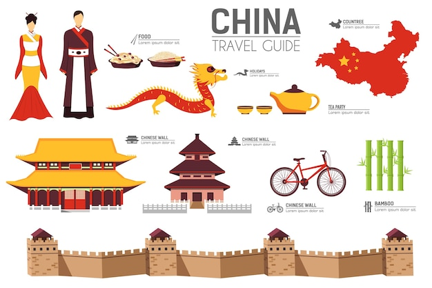 Attrazioni turistiche ed elementi di simboli culturali per infografica turistica, web.