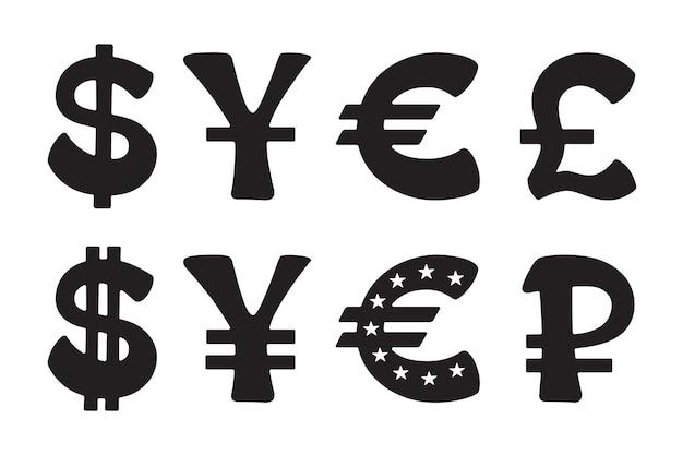 Segno di dollaro euro yen yuan rublo sterlina insieme dell'illustrazione di vettore dell'icona della siluetta
