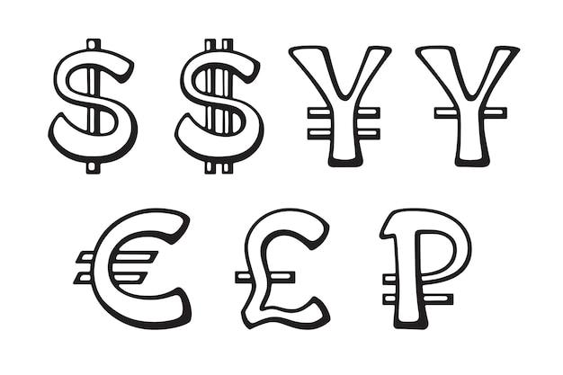 Segno di dollaro euro yen e yuan rublo e sterlina set di illustrazioni vettoriali