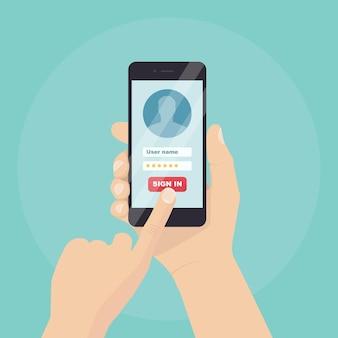 Pagina di accesso sullo schermo dello smartphone Vettore Premium