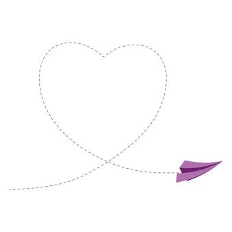 Segno con aeroplano di carta e illustrazione vettoriale del cuore