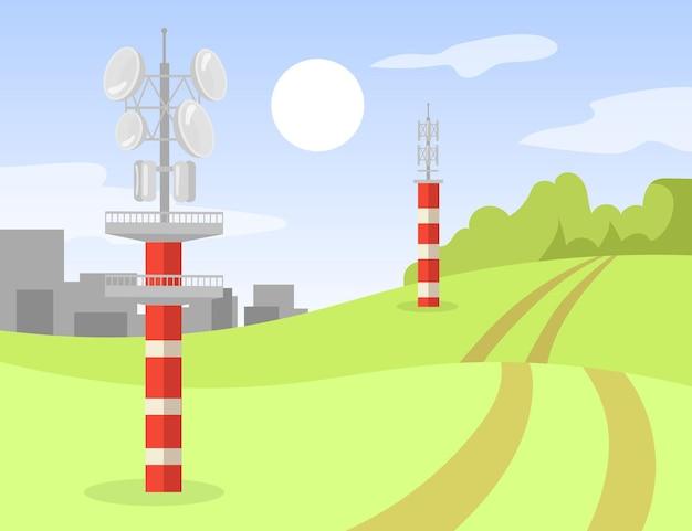 Torri di trasmissione del segnale in piedi lungo la strada. paesaggio urbano, metallo, illustrazione piana di costruzione