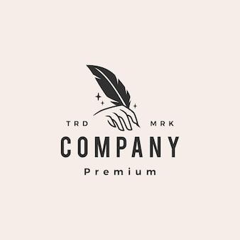 Firma piuma penna mano hipster logo vintage