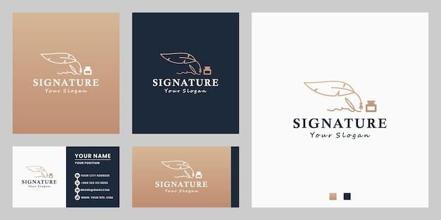 Firma, design del logo della cancelleria con penna piuma con biglietto da visita