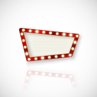 Cartello con luci brillanti e riflessione