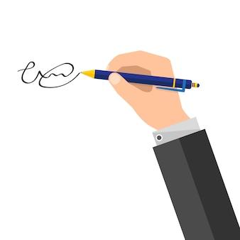 Firma del documento. illustrazione.