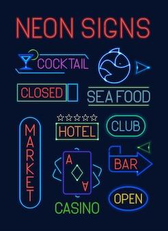 Insegne al neon. puntatori elettrici colorati al neon incandescente lettera club frutti di mare carte da gioco blu casinò verde mercato bar cocktail rosso hotel arancione indicatore poster pubblicitario.
