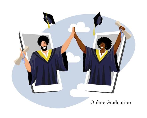 Studenti universitari di un ragazzo sikh e di una ragazza africana celebrano la cerimonia di laurea a distanza online