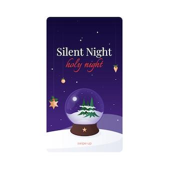 Silenziosa notte santa notte banner orizzontale popolare canto natalizio e decorato con agrifoglio e globo di neve celebrazioni natalizie tradizioni e patrimonio culturale