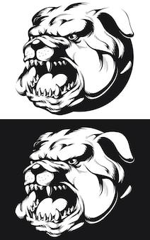 Sagoma bulldog arrabbiato testa che abbaia mordere