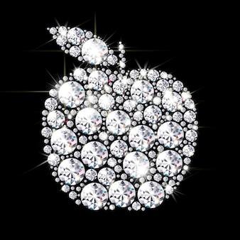 Sagoma di una mela rivestita di brillanti diamanti e cristalli su sfondo nero con