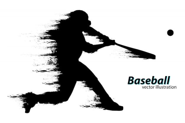 Silhouette di un giocatore di baseball. illustrazione vettoriale